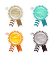 Four colored paper badges with place for your own vector image