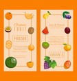 fruit set banners for fresh product or fruit vector image
