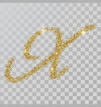 gold glitter powder letter x in hand painted style vector image vector image