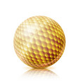gold golf ball 3d realistic vector image vector image