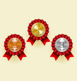 gold silver and bronze round medals with laurel vector image vector image