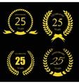 Golden laurel wreath 25 years set - jubilee vector image