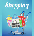 group a paper shopping bag on a shopping cart vector image vector image