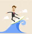happy businessman surfing on the wave flat vector image vector image