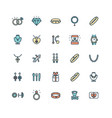 jewelry sign color thin line icon set vector image vector image