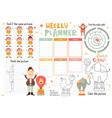 kids weekly planner template vector image