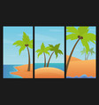landscapes set with palms sand and sea vector image