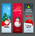 merry christmas santa claus snowman and hat vector image