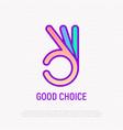 ok symbol hand gesture line icon good choice vector image