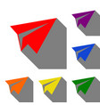 paper airplane sign set of red orange yellow vector image vector image