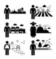 people in city cottage house small town highlands vector image