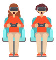 people play games with vr glasses at home vector image