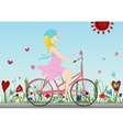 Pregnant girl rides a Bicycle on the field with vector image vector image
