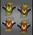 punk heart shape tattoo fire flames glock pistols vector image vector image