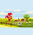 rural cute farm view rooster cow sheep cock vector image vector image