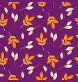 rustic fall orange leaves seamless purple pattern vector image vector image