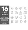 set ai iot and machine learning line icons vector image