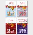 set cards hello autumn discount season vector image