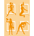 Silhouette of a Lady Working Out vector image vector image