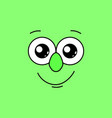 smiling face with big eyes on a green background vector image vector image