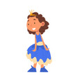 smiling girl in princess costume cute kid playing vector image vector image