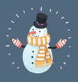 snow man on dark background vector image vector image