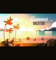sunset tropical palm beach balls view summer vector image