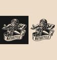 vintage monochrome motorcycle emblem vector image vector image
