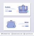 wallet and portfolio symbols vector image