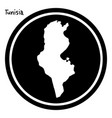 white map of tunisia on black circle vector image vector image