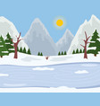 winter time ride on ice spruces with snowy tops vector image vector image