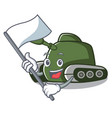 with flag tank mascot cartoon style vector image