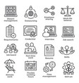 work from home line icons on white background vector image vector image