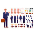 3rfsdf345wefcartoon businessman character kit vector image vector image