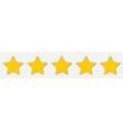 5 yellow stars icon customer feedback concept vector image
