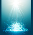 abstract sun rays and bokeh blue background vector image