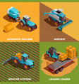 agricultural machines isometric concept icons set vector image
