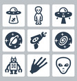 aliens and ufo icons set vector image vector image