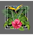 Background with tropical leaves and flowers Palms vector image vector image