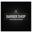 barber shop logo with barber scissors on black vector image