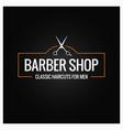 barber shop logo with scissors on black vector image