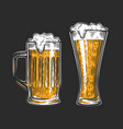 beer glass alcoholic drink with foam vector image
