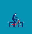 bicycle square wheels effort business concept vector image vector image