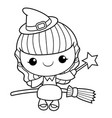 black and white witch mascot fly on a broom vector image