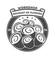 boutique of flowers vintage isolated label vector image vector image