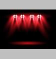 bright red stadium arena lighting spotlight vector image vector image