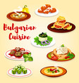 bulgarian dishes with meat vegetables and cheese vector image vector image