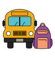bus school vehicle with schoolbag vector image vector image