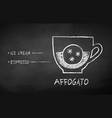 chalk drawn sketch affogato coffee recipe vector image vector image