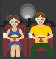 couple sitting in movie theater watching 3d movie vector image vector image